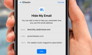 hide my email - hand holding phone
