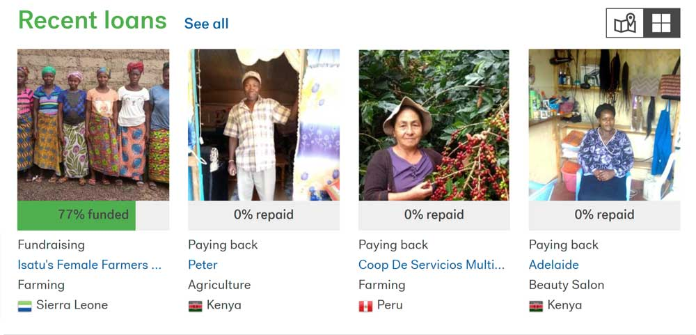 Some of our recent Kiva loans